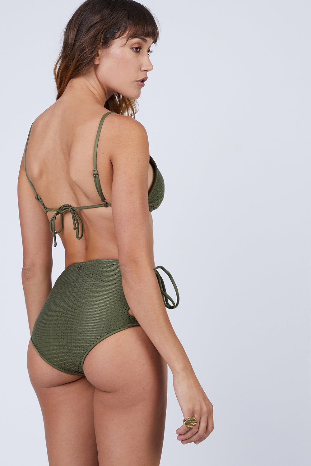 ROSA CHA Basic Triangle Bikini Top - Olive Green Bikini Top | Olive Green| Rosa Cha Basic Triangle Bikini Top - Olive Green Basic Triangle Top  Adjustable Sliding Triangles  Ties at Halter Neck  Ties at Center Back View