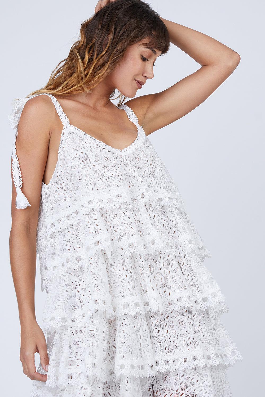 Waimari Audrey Tiered Lace Sundress Ivory Bikinicom