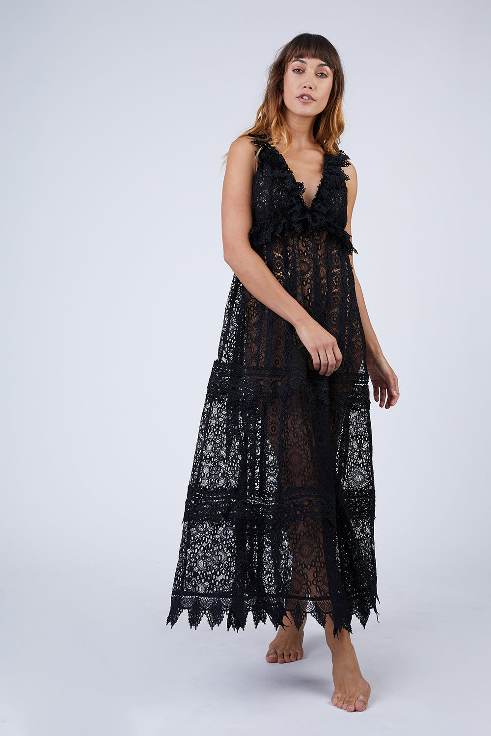 WAIMARI Chic Escape Sheer Lace Maxi Dress - Black Dress | Black| Waimari Chic Escape Sheer Lace Maxi Dress - Black Maxi dress V neckline  criss cross back straps All over lace detail  Ruffle detail Front View