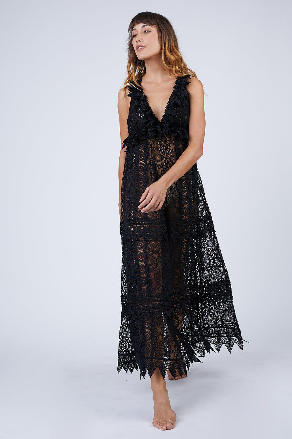 Chic Escape Sheer Lace Maxi Dress Black
