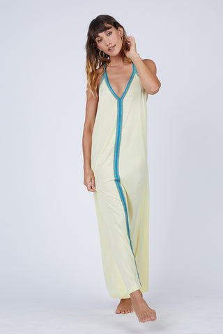 PITUSA Pima Sundress - Sorbet Lemon Dress | Sorbet Lemon|Pitusa Pima Sundress - Made from a peruvian burnout cotton Bright contrast inca trim down the centre Thin straps with V shape neckline Oversized Wide open sides Semi-sheer