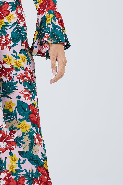 XIX PALMS Hana Tourista High Waist Pants - Vibrant Floral Print Pants   Vibrant Floral Print  XIX Palms Hana Tourista High Waist Pants - Vibrant Floral Print Retro high-waisted cropped flare pants in a vibrant tropical floral print. Front View