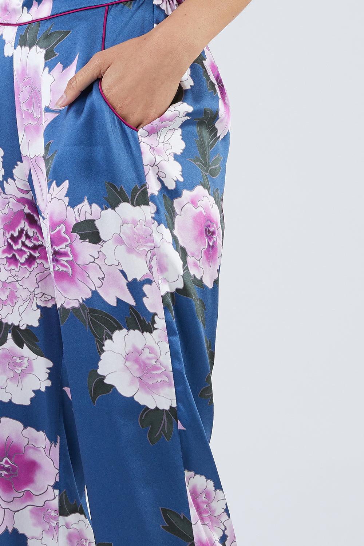 FLEUR DU MAL Contrast Back Seam Silk PJ Pant - Caspian Floral Print Pants | Caspian Floral Print| Fleur Du Mal Contrast Back Seam Pj Pant - Caspian Floral Print 100% Silk Pajama Pant Back Seam Piping  Front View