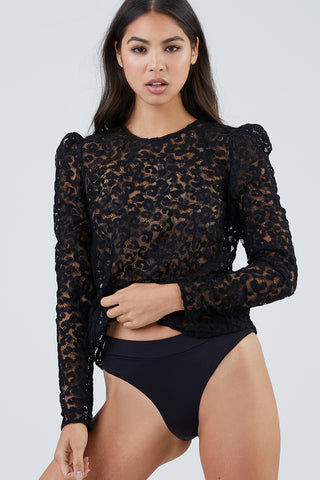 FLEUR DU MAL Lace Puff Sleeve Blouse - Black Leopard Print Top | Black| Fleur Du Mal Leopard Lace Puff Sleeve Blouse - Black Long sleeve blouse  Leopard lace detail  Exaggerated puff shoulders  Back keyhole detail  Fabric: 30% wool, 30% acrylic, 25% polyamide & 15% polyester Front View