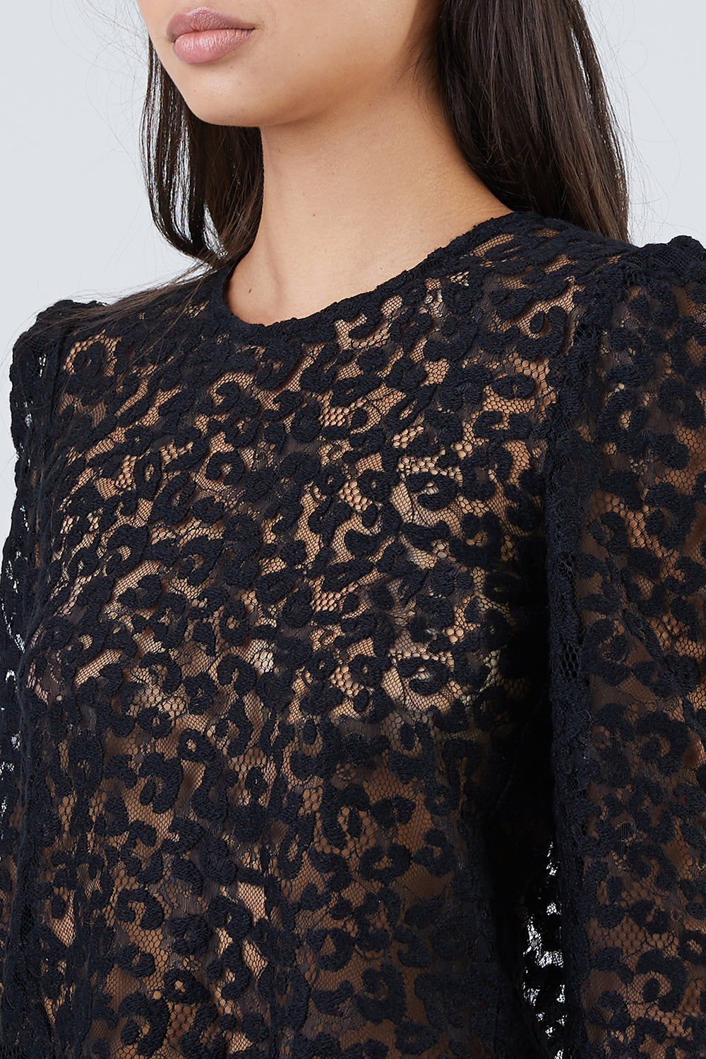 FLEUR DU MAL Lace Puff Sleeve Blouse - Black Leopard Print Top | Black Leopard Print | Fleur Du Mal Leopard Lace Puff Sleeve Blouse - Black Leopard Print Long sleeve blouse  Leopard lace detail  Exaggerated puff shoulders  Back keyhole detail  Fabric: 30% wool, 30% acrylic, 25% polyamide & 15% polyester Front View