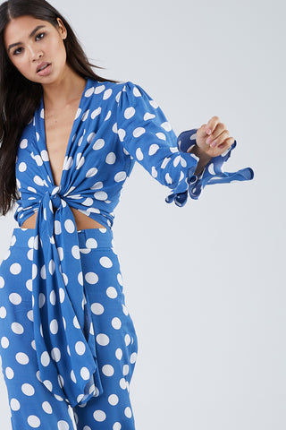 XIX PALMS Beverly Hills Tourista High Waist Pants - Blue & White Polka Dot Print Pants | Blue & White Polka Dot Print| XIX Palms Beverly Hills Tourista High Waist Pants - Blue & White Polka Dot Print Royal blue high-waisted cropped flare pants with a bright white polka dot print. Front View