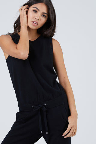 N:PHILANTHROPY Lottie Sleeveless Tank Jumpsuit - Black Cat Jumpsuit | Black Cat| n:Philanthropy Lottie Jumpsuit - Black Cat Crew neckline  Thick shoulder straps  Small keyhole back cut out  Self tie belt Banded leg openings  Front View