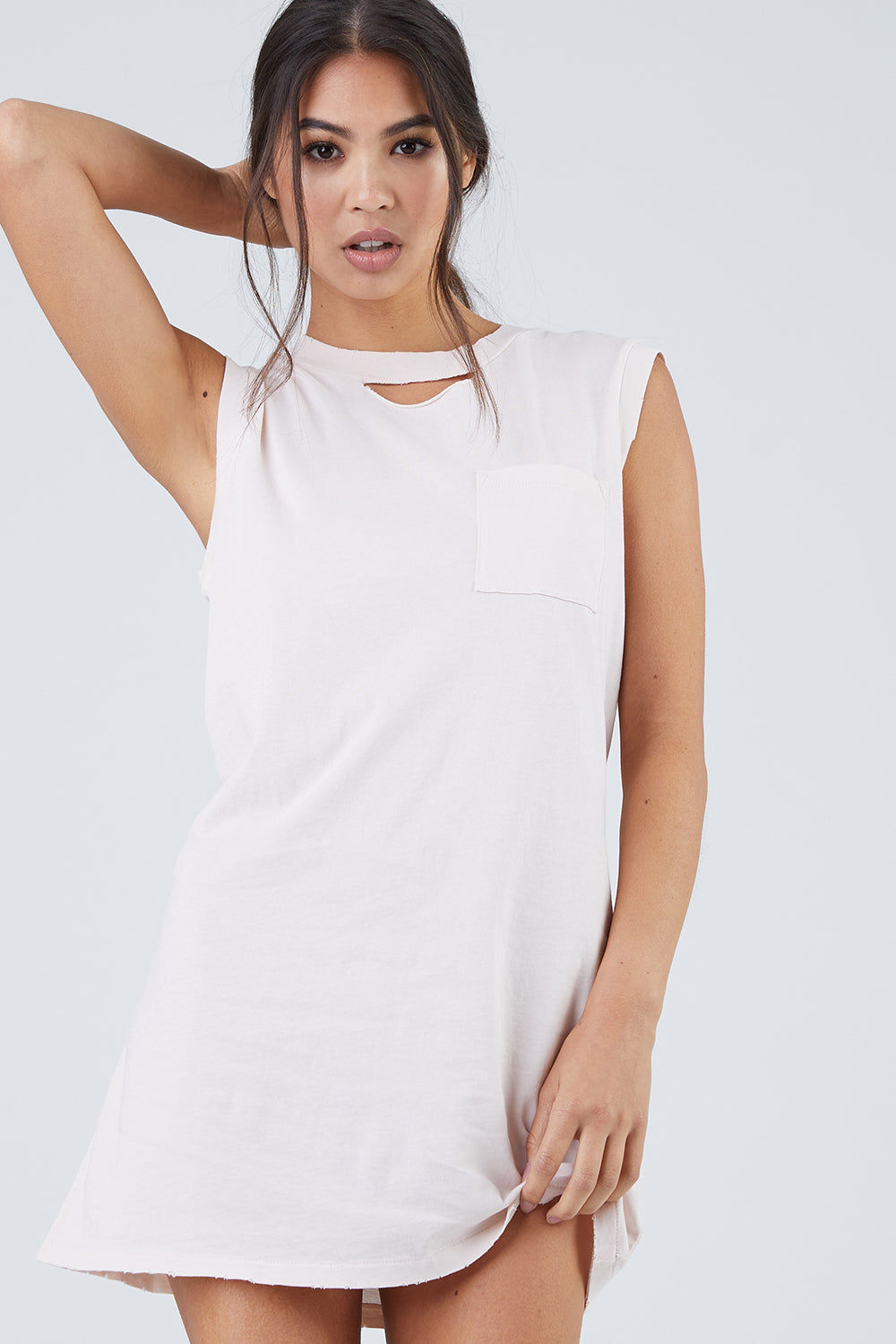 N:PHILANTHROPY Shotgun Dress - Petal Dress | Petal| N:PHILANTHROPY Shotgun Dress - Petal. Features:  High neckline with cutout detail Raw edge cap sleeves 100% Cotton jersey Machine wash cold like colors, lay flat to dry Made in LA Front View