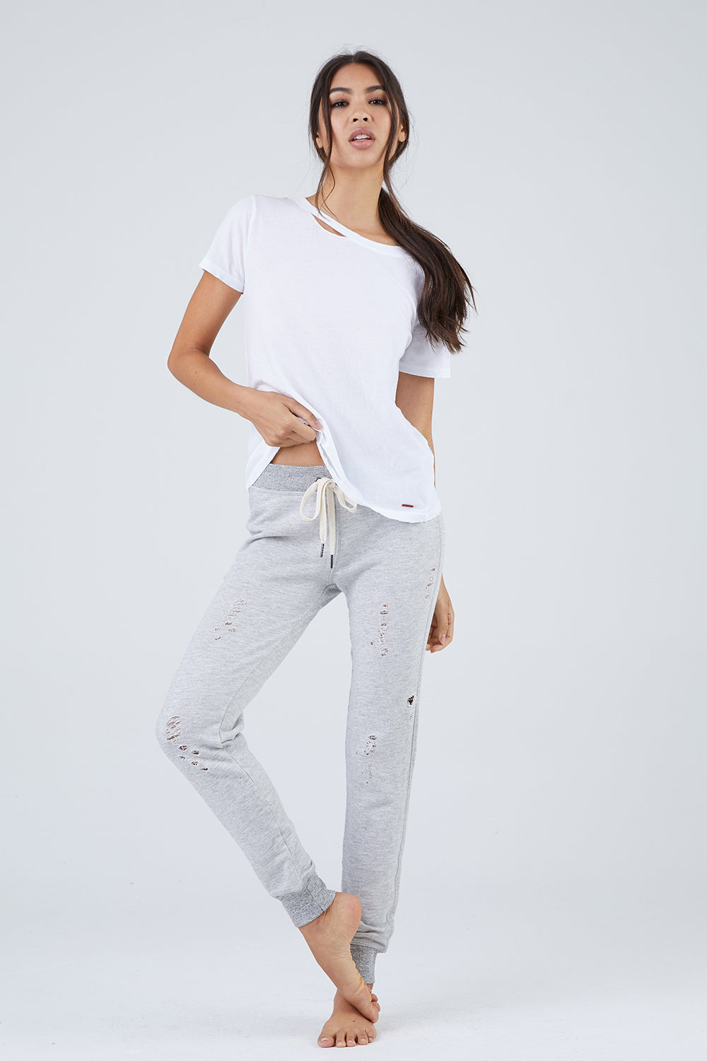N:PHILANTHROPY Nikki Decon Pants - Heather Grey Pants | Heather Grey| N:PHILANTHROPY Nikki Decon Pants - Heather Grey. Features:  Deconstructed sweatpants Thick waistband Adjustable waist tie Cult classic Back pocket Front View