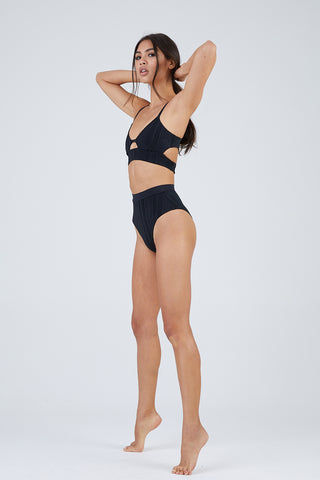 TAVIK Pernille High Waisted Bottom -Slinky Rib Black Bikini Bottom | Slinky Rib Black| Tavik Pernille High Waisted Bottom - Slinky Rib Black
