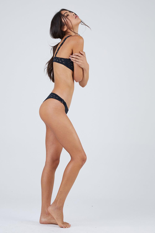 AMUSE SOCIETY Darla Bralette Bikini Top - Black Bikini Top | Black|Darla Bralette Top - Features:  Bow shaped front detail Black eyelet fabric Bralette style Banded