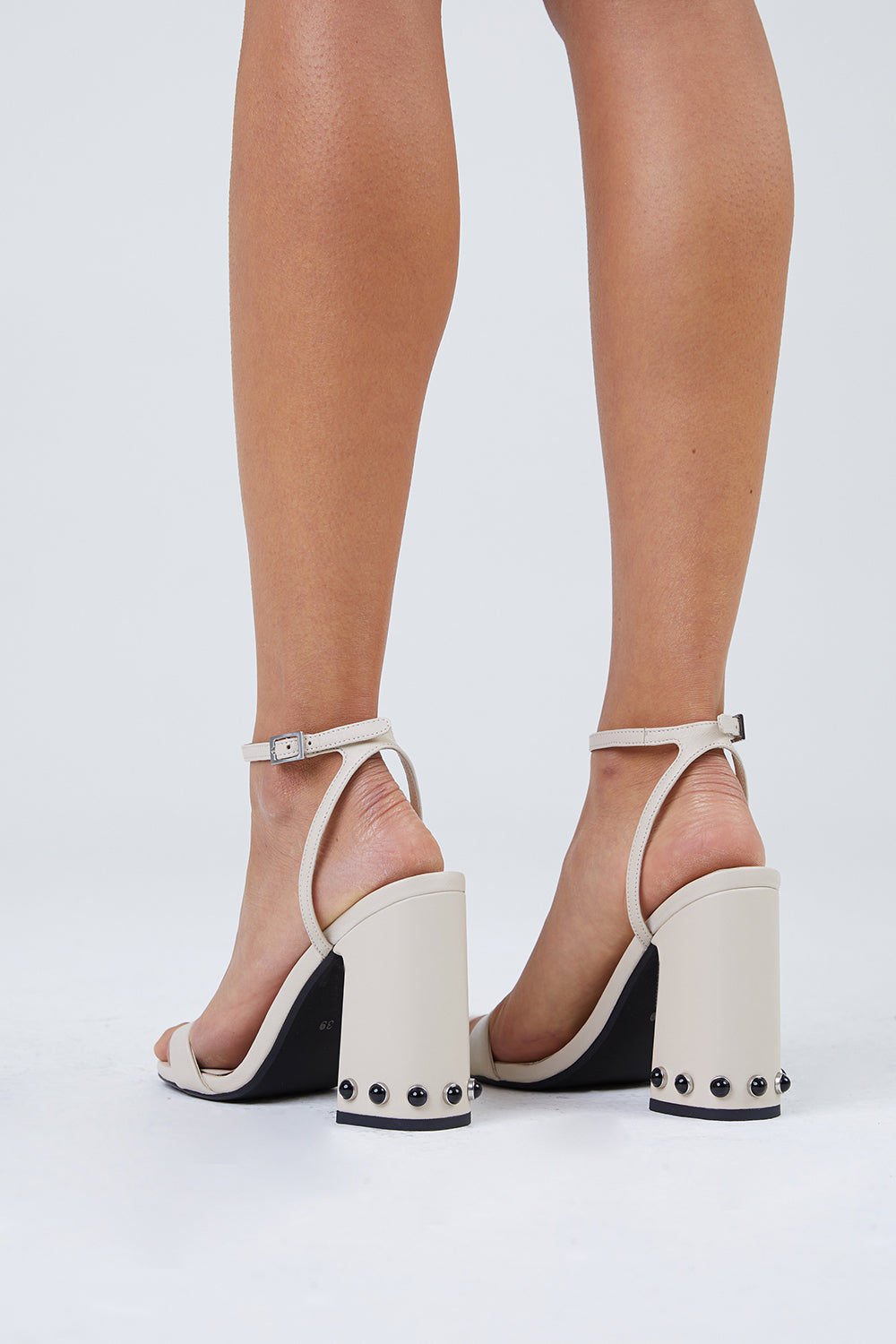 SENSO Yella Chunky Heels - Ivory White Shoes | Ivory White| Senso Yella Chunky Heel Sandals - Ivory White. Features:  Leather heeled sandals Open Toe Stud detailing Ankle buckle fastening Square heel  Back View