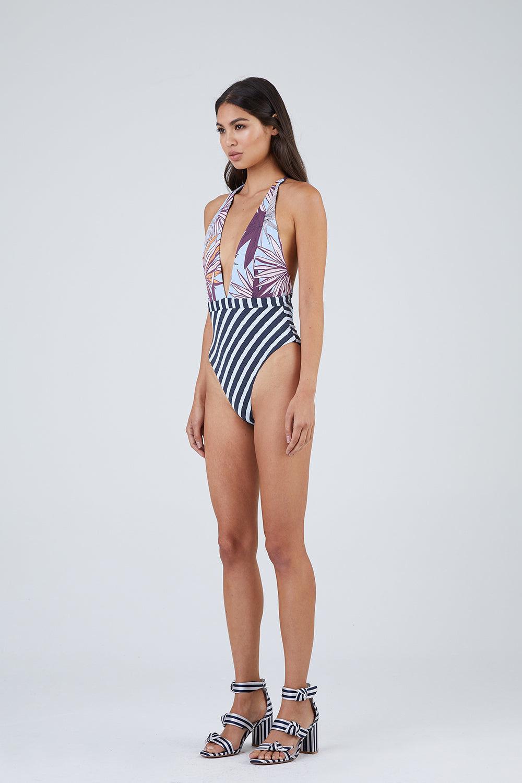 MAAJI Chromatic Rainbow Plunge One Piece Swimsuit - Floral Stripe Print One Piece | Floral Stripe Print|