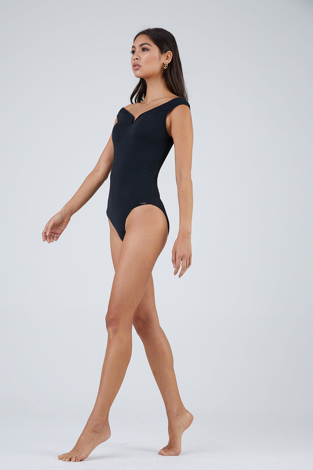 PRISM Valencia Off-The-Shoulder One Piece Swimsuit - Onyx One Piece | Onyx| Prism Valencia Off Shoulder One Piece Swimsuit - Onyx Sweetheart neckline Moulded cups Low cut leg Moderate to full coverage  70% polyamide 30% Elastane Side View