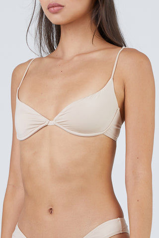 MONICA HANSEN BEACHWEAR Start Me Up Underwire Bikini Top - Sand Bikini Top | Sand| Monica Hansen Beachwear Start Me Up Underwire Bikini Top - Sand. Features:  Underwire Adjustable shoulder straps Metal clasp in back Double fabric on the inside instead of lining Italian fabric 85% Nylon 15% Elastane Manufactured in Italy Hand wash cold.  Dry flat Front View