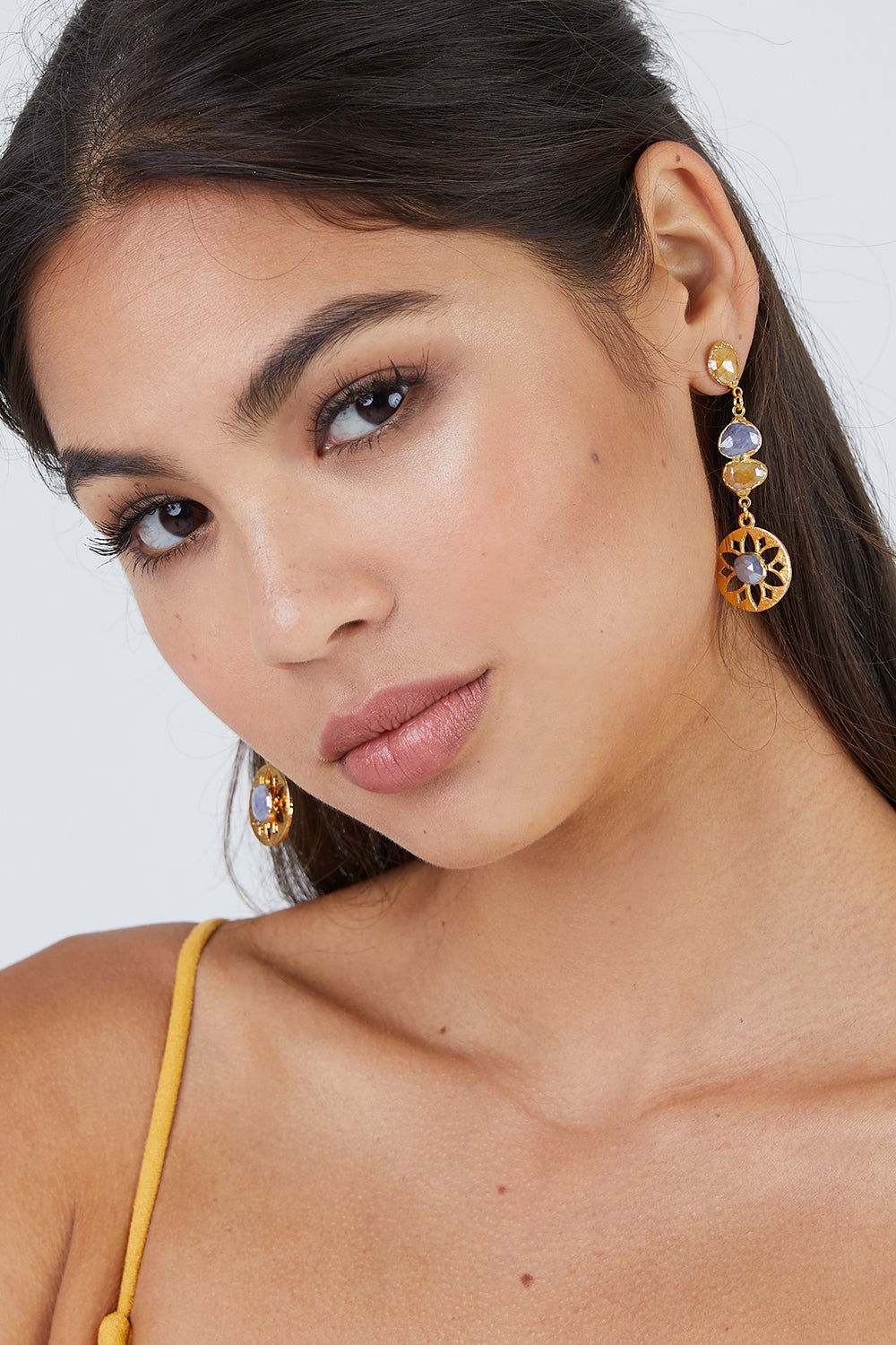 LUX DIVINE Olympia Earrings - Yellow/Blue Jewelry   Yellow/Blue 