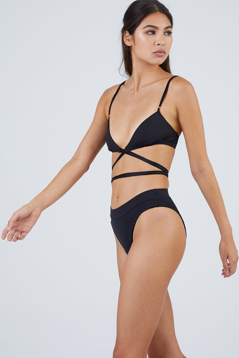 MONICA HANSEN BEACHWEAR That 90's Vibe High Waisted Bikini Bottom - Black Bikini Bottom | Black| Monica Hansen That 90's Vibe High Waisted Bikini Bottom - Black Thick Waist Band  High Waisted  High Cut Leg  Moderate Coverage  Front View