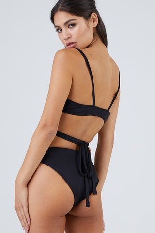 MONICA HANSEN BEACHWEAR That 90's Vibe High Waisted Bikini Bottom - Black Bikini Bottom | Black| Monica Hansen That 90's Vibe High Waisted Bikini Bottom - Black Thick Waist Band  High Waisted  High Cut Leg  Moderate Coverage  Back View