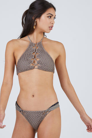 ACACIA Papio Cheeky Crochet Bikini Bottom - Cement Bikini Bottom | Cement| Acacia Papio Moderate Bottom - Cement Front View  Smooth Wide Straps Lacing Side Detail Crochet Overlay Front & Back  Cheeky - Moderate Coverage