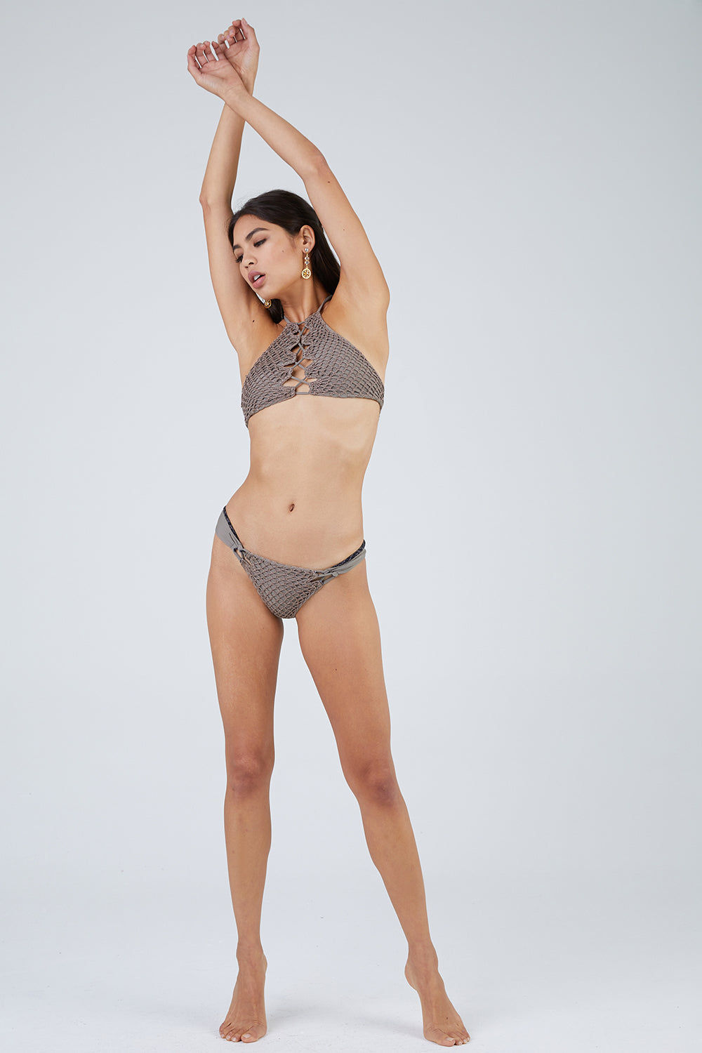 ACACIA Papio Cheeky Crochet Bikini Bottom - Cement Grey Bikini Bottom   Cement Grey  Acacia Papio Crochet Cheeky Bikini Bottom - Cement Back View   Smooth Wide Straps Lacing Side Detail Crochet Overlay Front & Back  Cheeky - Moderate Coverage  FRont View