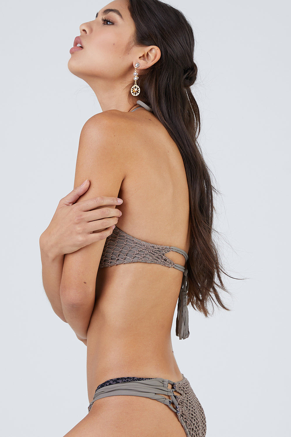 ACACIA Papio Cheeky Crochet Bikini Bottom - Cement Grey Bikini Bottom   Cement Grey  Acacia Papio Crochet Cheeky Bikini Bottom - Cement Back View   Smooth Wide Straps Lacing Side Detail Crochet Overlay Front & Back  Cheeky - Moderate Coverage  Side View