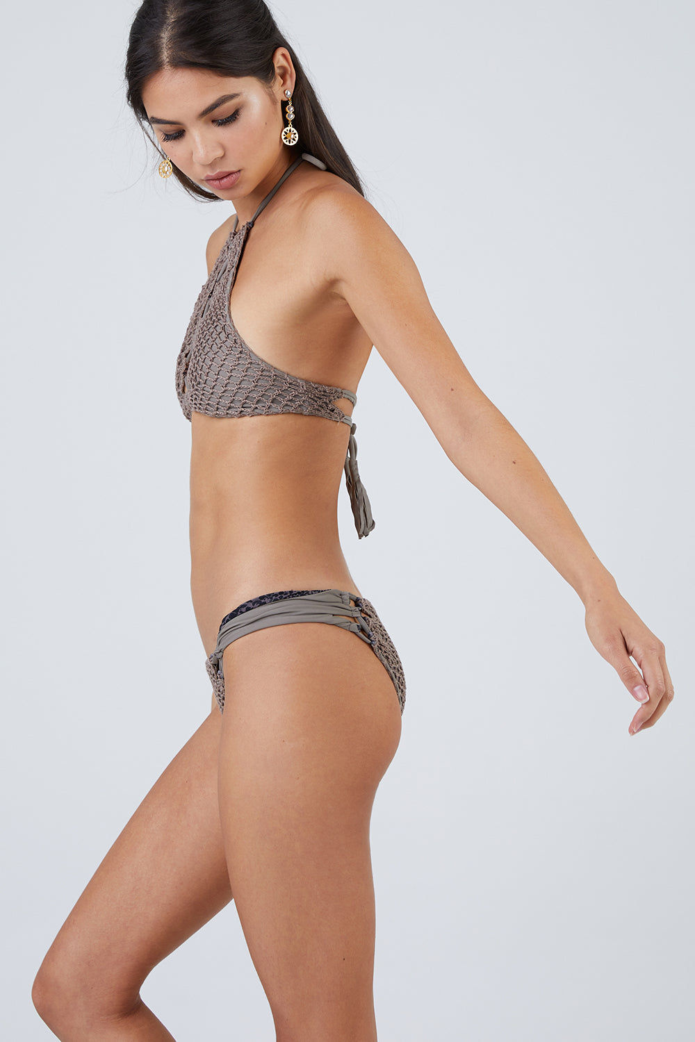 ACACIA Papio Cheeky Crochet Bikini Bottom - Cement Bikini Bottom | Cement| Acacia Papio Moderate Bottom - Cement Side View  Smooth Wide Straps Lacing Side Detail Crochet Overlay Front & Back  Cheeky - Moderate Coverage