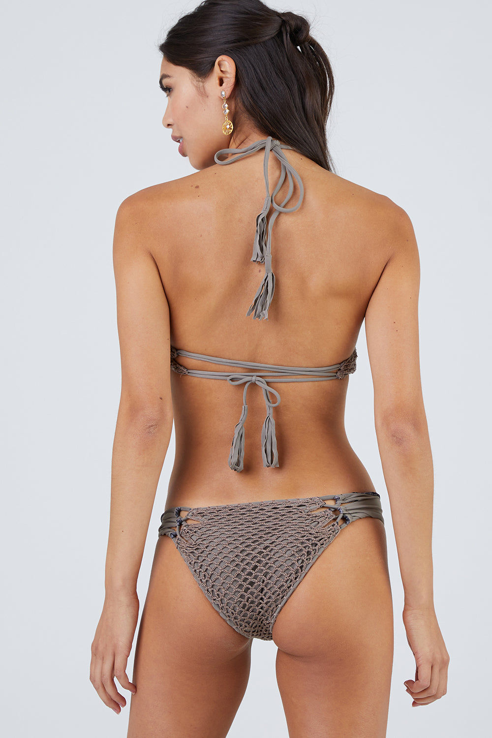 ACACIA Lei High Neck Crochet Bikini Top - Cement Bikini Top | Cement| Acacia Lei High Neck Top - Cement Front View High Neck Bikini Top  Ties at Neck  Lace Up Front  Lace Up Back Detail  Crochet Overlay Fabric