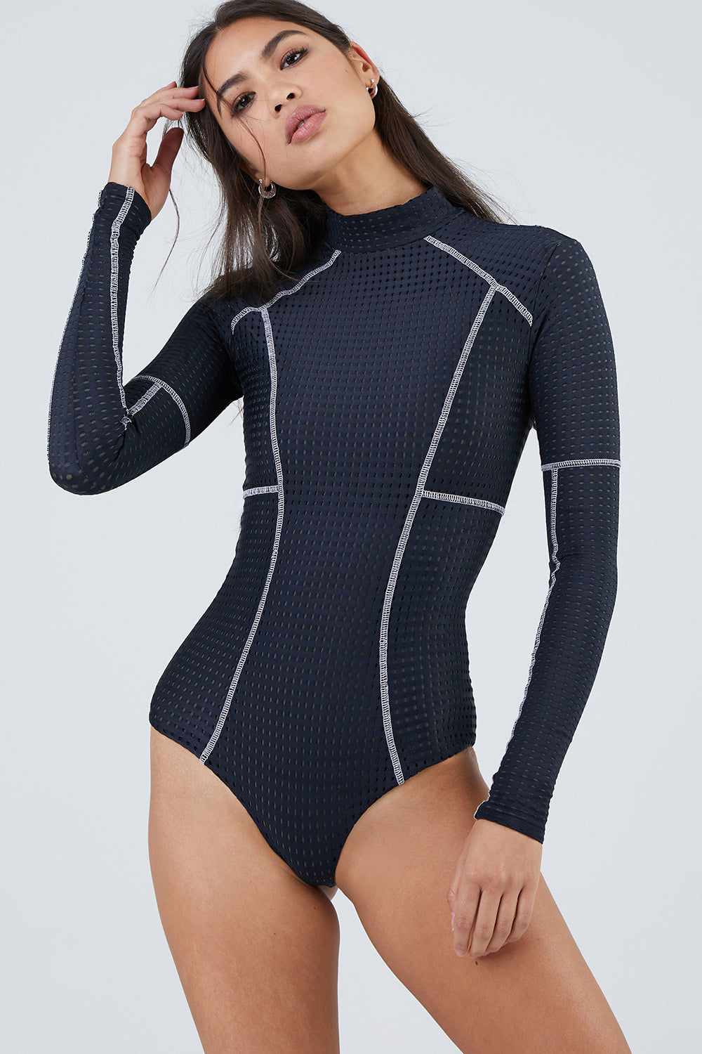 ACACIA Ehukai Mesh Long Sleeve Rashguard Bodysuit - Black Beauty Mesh One  Piece  bccc5c99d