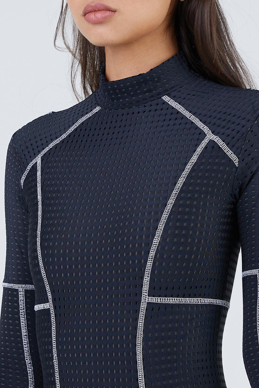 479801f586 ACACIA Ehukai Mesh Long Sleeve Rashguard Bodysuit - Black Beauty One Piece