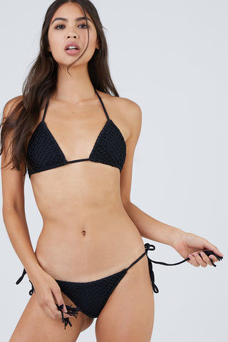 ACACIA Polihale Crochet Tie Side Bikini Bottom - Black Bikini Bottom | Black| Acacia Polihale Tie Side Bikini Bottom - Black Black tie side bikini bottom. Crochet overlay Front View
