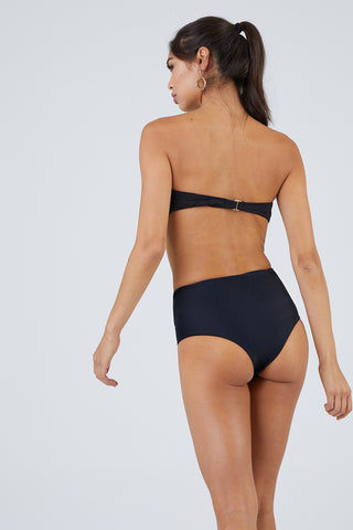 BEACH RIOT Kelsey Classic Bandeau Bikini Top - Black Mesh Bikini Top | Black Mesh| Beach Riot Kelsey Classic Bandeau Bikini Top - Black Mesh Strapless black bandeau bikini top. Mesh striped texture fabric. Back hook closure.