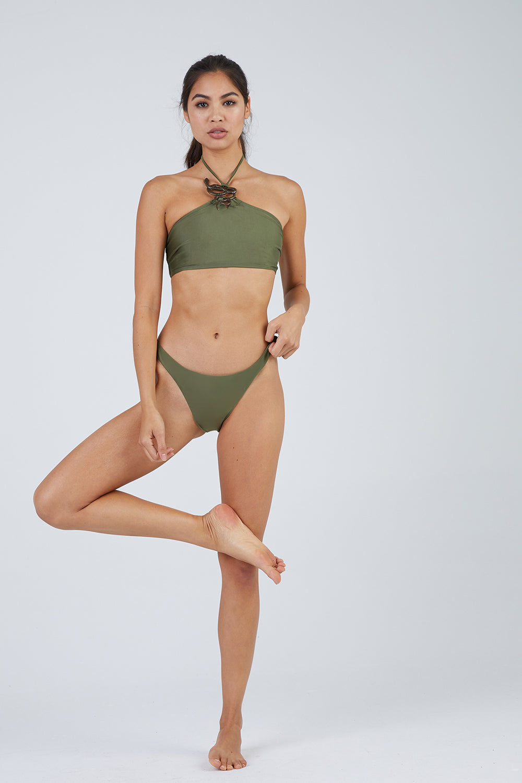 ROSA CHA Lena Moderate Bikini Bottom - Snake Green Bikini Bottom | Snake Green| ROSA CHA Lena Moderate Bikini Bottom - Snake Green
