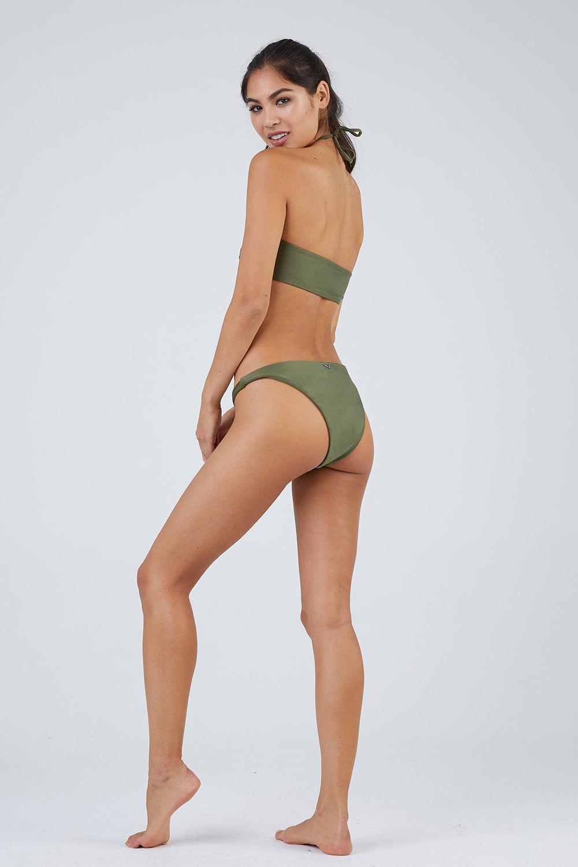 ROSA CHA Lena Moderate Bikini Bottom - Snake Green Bikini Bottom | Snake Green| Rosa Cha Lena Moderate Bikini Bottom - Snake Green. Features:  Low Rise Bikini Bottom Cheeky-Moderate Coverage  84% Polyamide 16% Elastane / Lining: 84% Polyamide 16% Elastane Back View