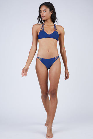 MIKOH Lanai Strappy Cheeky Bikini Bottom - Coastal Blue Bikini Bottom | Coastal Blue| Mikoh Lanai Bikini Bottom Front View Low-Rise Bikini Bottom Multi-Sting side Straps Cheeky Rear Coverage Double Lined Seamless Hardware-Free