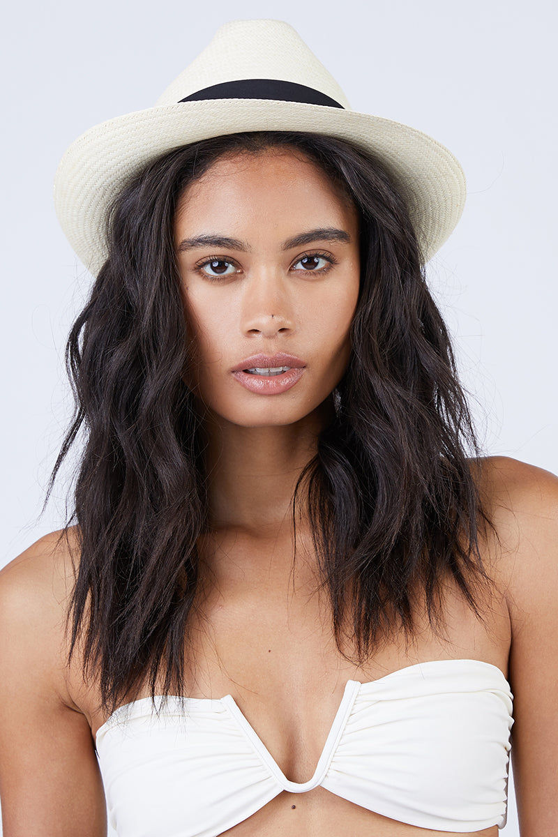 KAYU Del Rey Straw Panama Hat - Natural/Black Hat | Natural/Black| Kayu Del Rey Hat - Natural/ Black Classic Panama hat Made of Toquilla straw and features a grosgrain band Handcrafted by skilled artisans in Ecuador Size Guide:   56-57 cm with adjustable band One size fits most  Front View