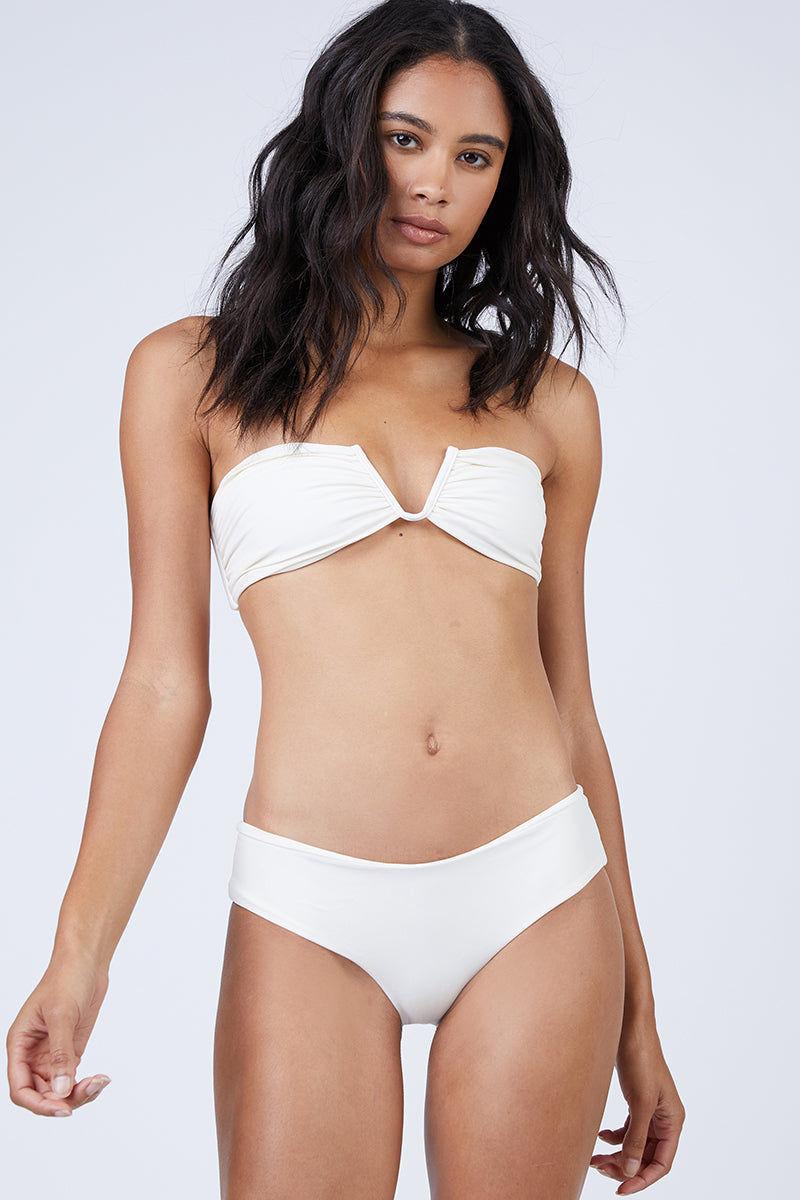 MIKOH Bondi Boyshort Bikini Bottom - Bone White Bikini Bottom | Bone White| Mikoh Bondi Boyshort Bikini Bottom - Bone White Mid-rise cheeky bikini bottom in luxe solid white fabric. Wide boyshort-style Front View