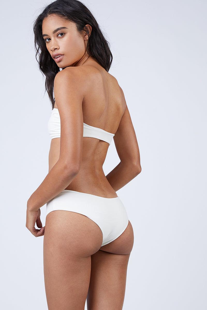 MIKOH Bondi Boyshort Bikini Bottom - Bone White Bikini Bottom | Bone White| Mikoh Bondi Boyshort Bikini Bottom - Bone White Mid-rise cheeky bikini bottom in luxe solid white fabric. Wide boyshort-style Back View
