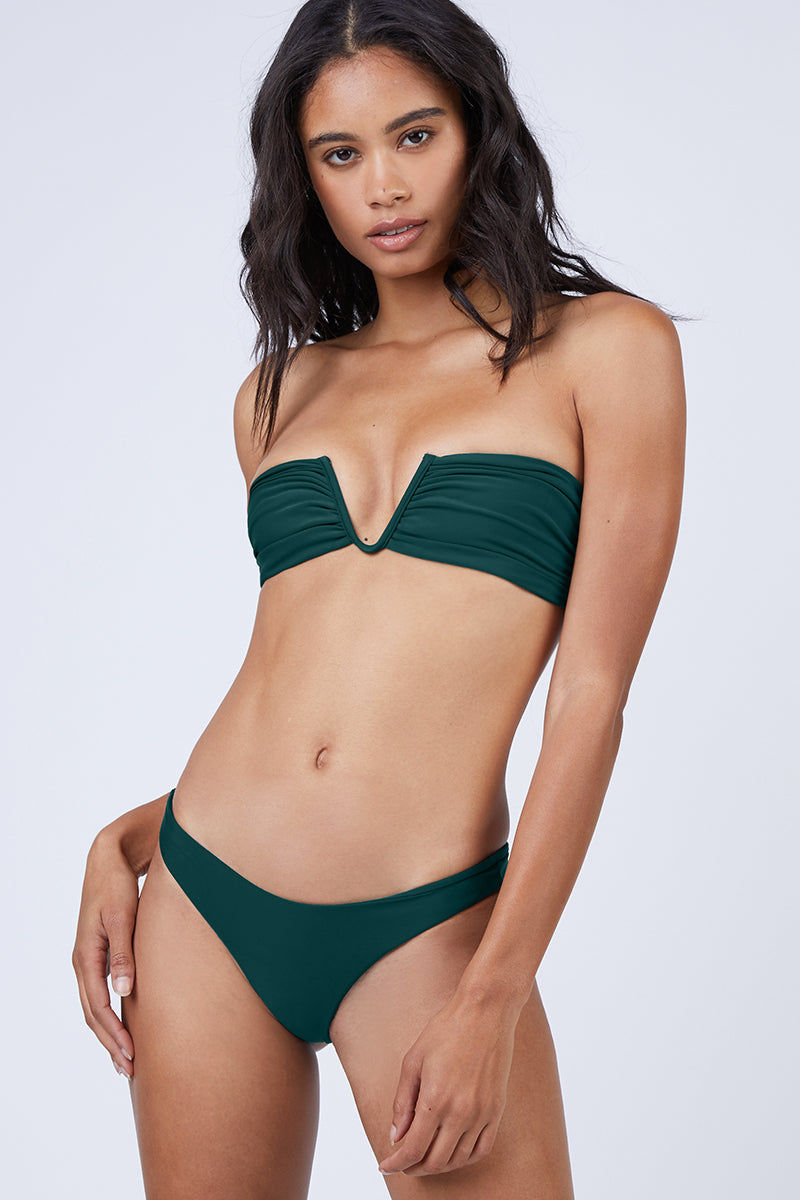 MIKOH Reunion V-Wire Bandeau Bikini Top - Kelp Green Bikini Top | Kelp Green| Mikoh Reunion V-Wire Bandeau Bikini Top - Kelp Green Strapless v-wire bandeau bikini top in luxe solid blue-green fabric. Boned sides and deep-v wired neckline give the bikini top a structured look. Front View