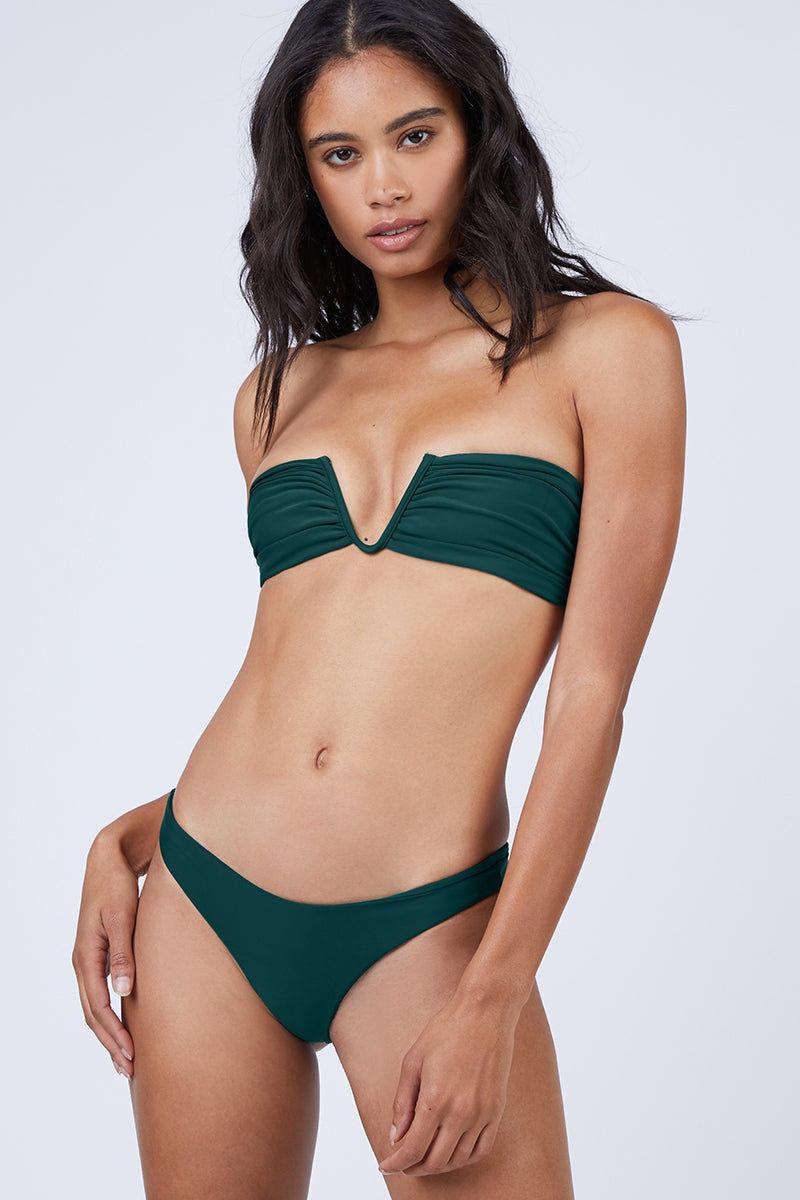 86b4c5c1c8bcd MIKOH Reunion V-Wire Bandeau Bikini Top - Kelp Green Bikini Top
