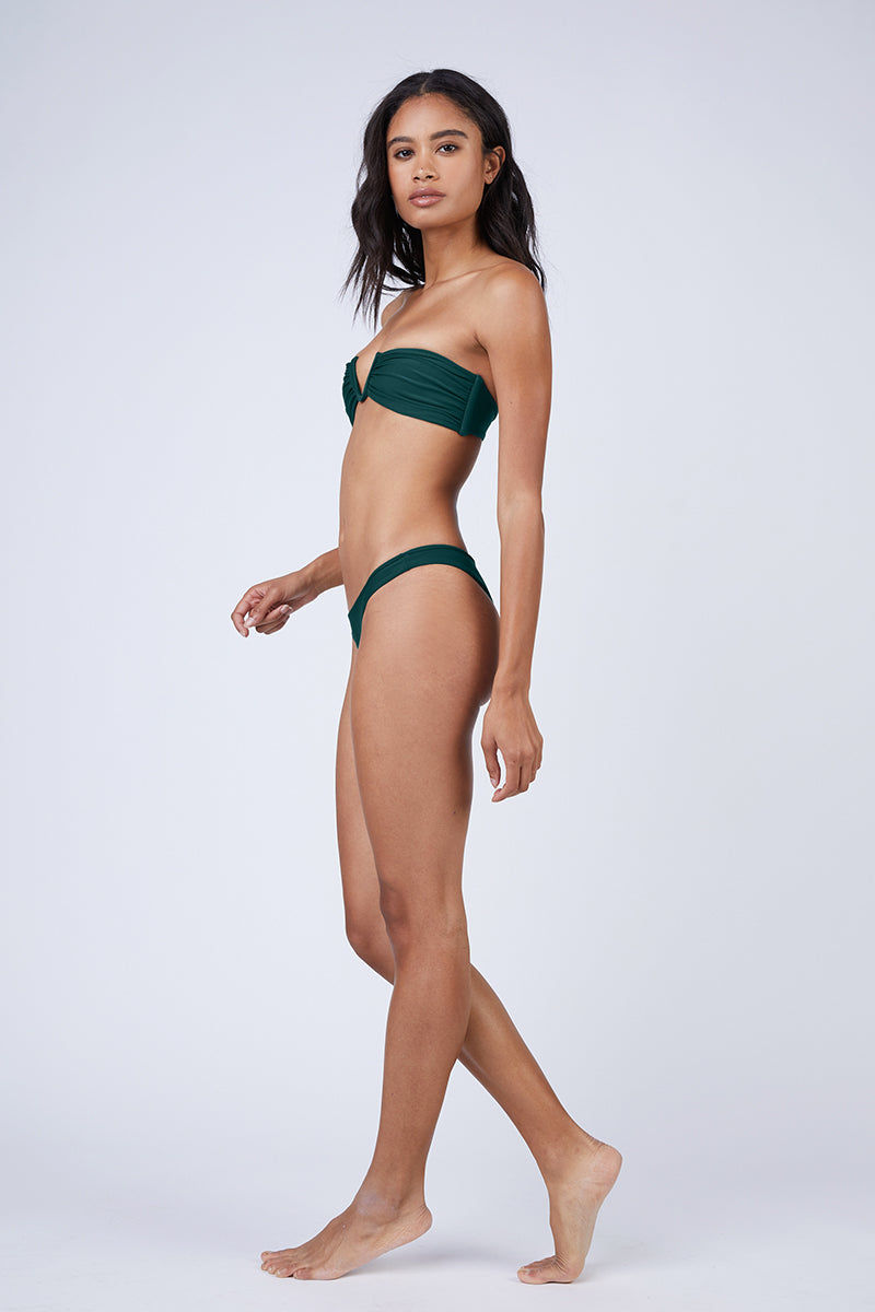 MIKOH Reunion V-Wire Bandeau Bikini Top - Kelp Green Bikini Top | Kelp Green| Mikoh Reunion V-Wire Bandeau Bikini Top - Kelp Green Strapless v-wire bandeau bikini top in luxe solid blue-green fabric. Boned sides and deep-v wired neckline give the bikini top a structured look. Side View