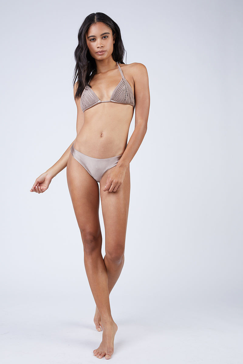 PILYQ Basic Ruched Teeny Bikini Bottom - Sandstone Nude Bikini Bottom | Sandstone Nude| Pilyq Basic Ruched Teeny Bikini Bottom - Sandstone Nude Low-rise hipster style scrunch butt cheeky bikini bottom in nude brown. Easy pull-on style with wide side straps and hipster-style cut Front View