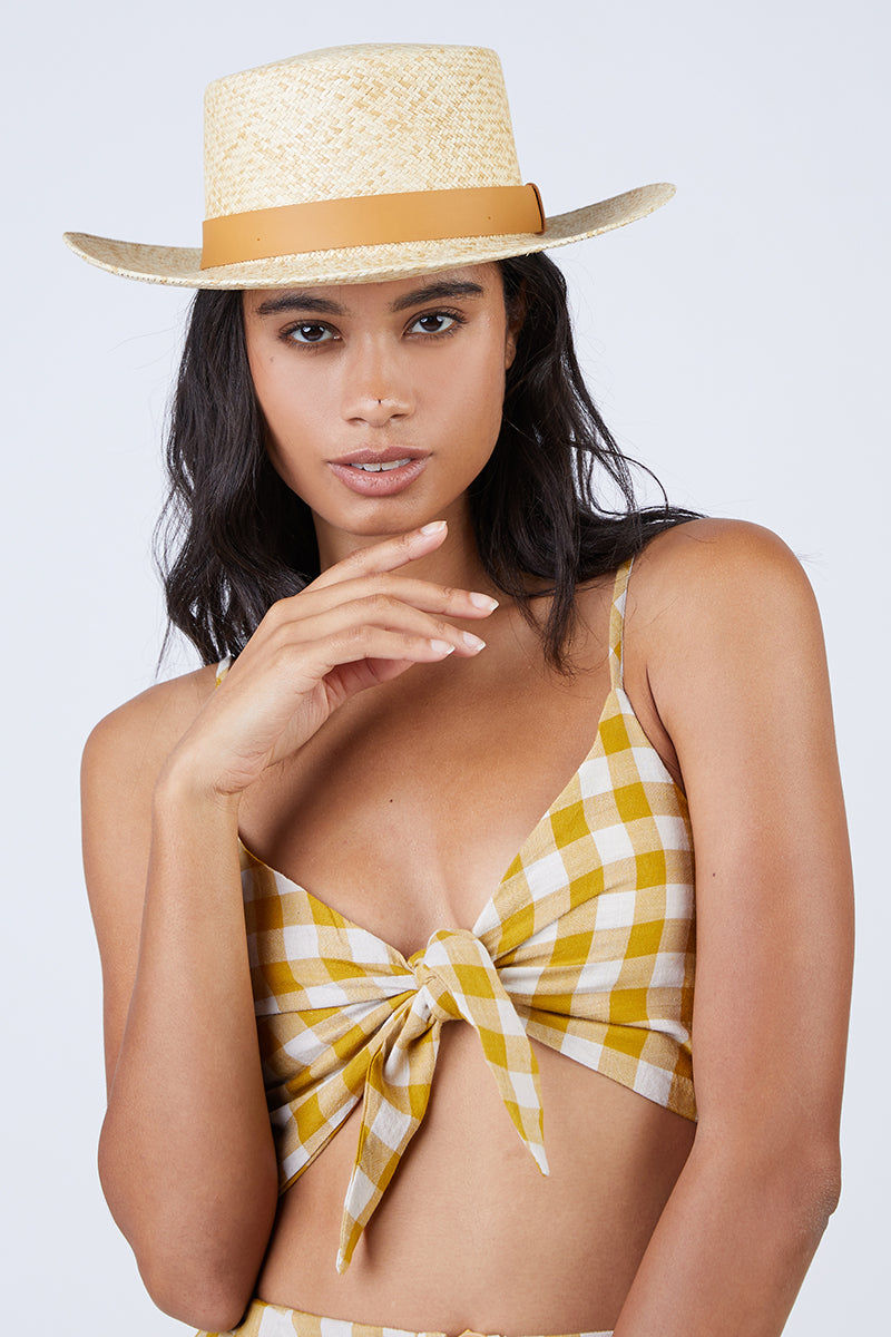 REVERSE Ryna V Neck Front Knot Tie Top - Mustard Gingham Print Top | Mustard Gingham Print| REVERSE Ryna Front Tie Top - Mustard Gingham Print V neckline  Front tie detail  Gingham print in mustard Front View