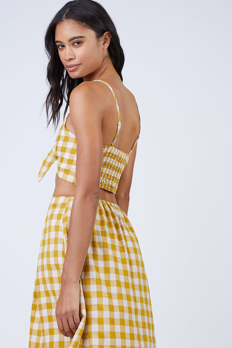 REVERSE Ryna V Neck Front Knot Tie Top - Mustard Gingham Print Top | Mustard Gingham Print| REVERSE Ryna Front Tie Top - Mustard Gingham Print V neckline  Front tie detail  Gingham print in mustard Back View