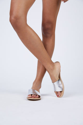 MATISSE Silver Cabana Sandals Sandals | | Matisse Silver Cabana Sandals Slides Upper: Leather   Outsole: Man Made Synthetic Leather Lining   Padded Insole