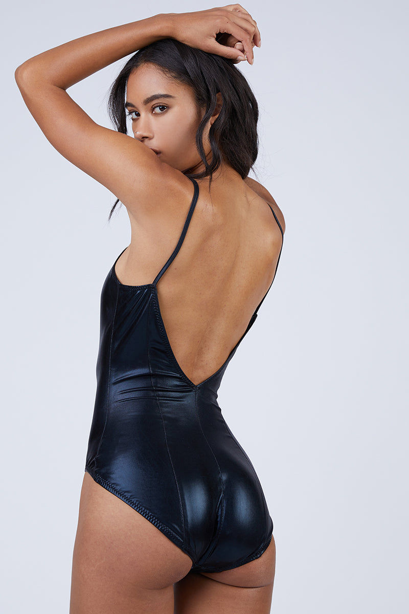 NORMA KAMALI Wonderwoman Mio V Neck One Piece Swimsuit - Black One Piece | Black| Norma Kamali Wonderwoman Mio V Neck One Piece Swimsuit - Black V neckline  Thin shoulder straps  High cut leg  Moderate coverage Back View