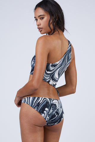 NORMA KAMALI Shane One Shoulder Cut Out One Piece Swimsuit - Black & White Swirl Print One Piece | Black & White Swirl Print| Norma Kamali Shane One Shoulder Cut Out One Piece Swimsuit - Black & White Swirl Print Norma Kamali Shane Cut Out One Piece Swimsuit - Swirl Print Asymmetrical one-shoulder one piece swimsuit in luxe black and white swirl print. Single large cut-out wraps around front, side, and back to show off your muscles and curves in all the right places. Lean and elegant, the single shoulder strap has a modern goddess look. High-cut leg Back View