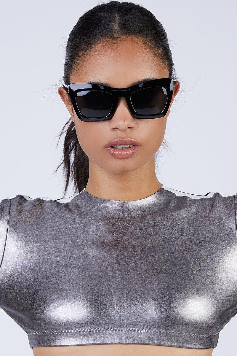 I-SEA Oasis Sunglasses - Black Sunglasses   Black  I-Sea Oasis Sunglasses - Black Oversized Thick Frames Sunglasses Frame Color: Black Lens Color: Smoke 100% UV / UVB Protection Front View