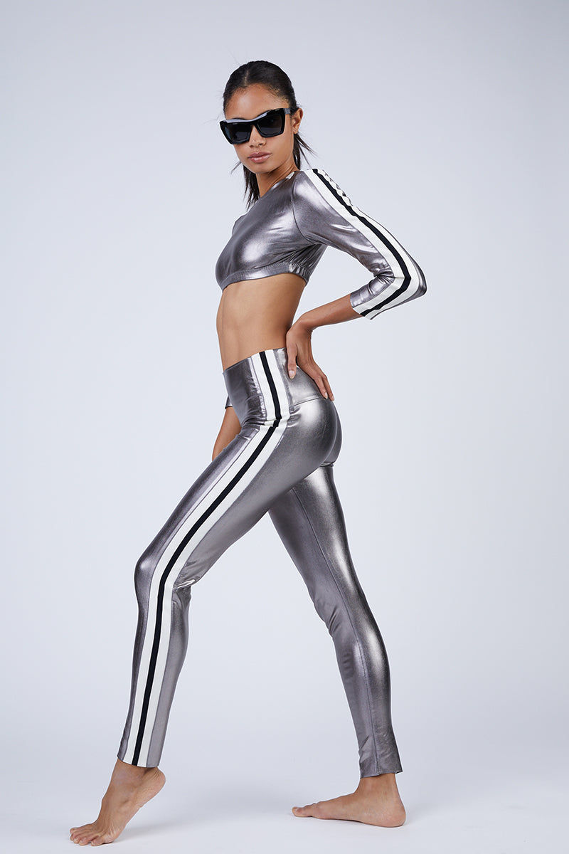 NORMA KAMALI Side Stripe Leggings - Gunmetal Grey Pants | Gunmetal Grey | Norma Kamali Side Stripe Leggings - Gunmetal Grey High waist leggings Side stripes detail  Side View