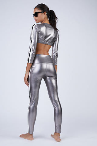 NORMA KAMALI Side Stripe Leggings - Gunmetal Grey Pants | Gunmetal Grey | Norma Kamali Side Stripe Leggings - Gunmetal Grey High waist leggings Side stripes detail  Back View