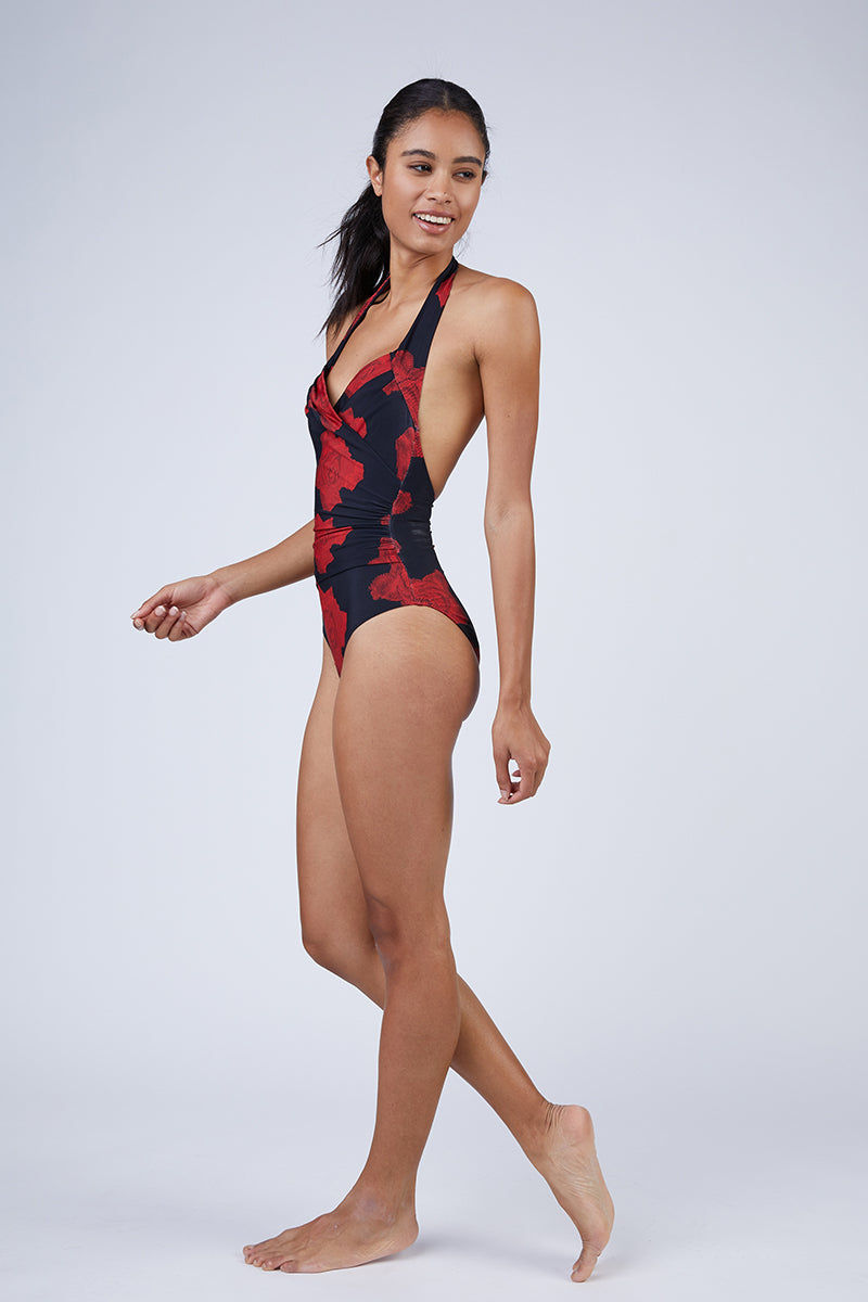NORMA KAMALI Halter Sweetheart Mio One Piece Swimsuit - Red Rose Print One Piece | Red Rose| Norma Kamali Halter Sweetheart Mio One Piece Swimsuit - Red Rose as seen on Chelsea Manning in American Vogue. View: Side View